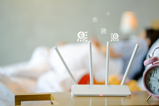 Sluit omhoog op draadloze router met wifi 6-technologie