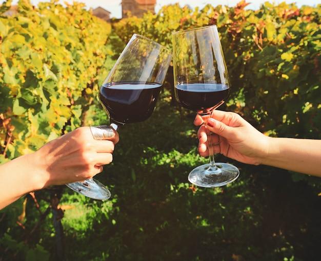 Sluit omhoog op handen die rode wijnglazen roosteren bij wijngaard