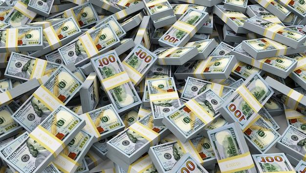 Sluit omhoog op heap of stack van dollarbiljetten