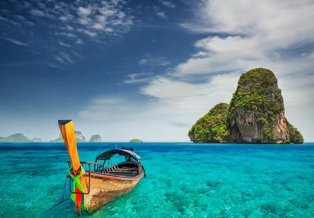 Sluit omhoog op houten boot op een exotisch landschap