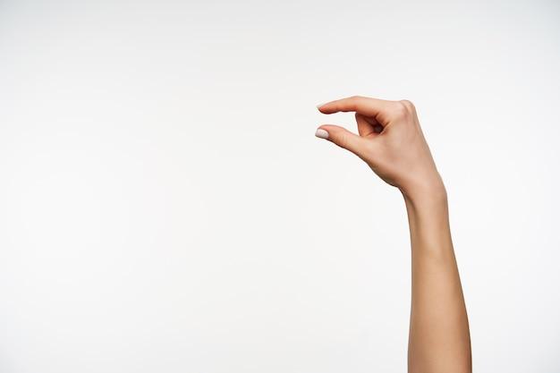Sluit omhoog op vrij jonge hand met witte manicure die kleine lengte met vingers toont
