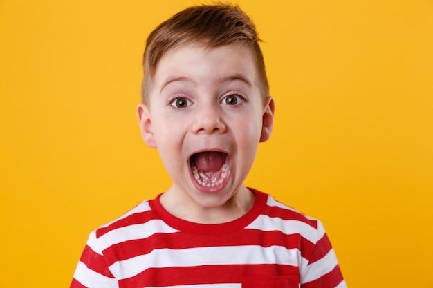 Sluit omhoog portret van een kleine jongen die luid gillen