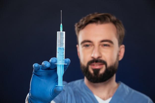 Sluit omhoog portret van een vriendschappelijke mannelijke arts