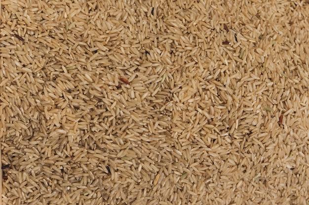 Sluit omhoog ruwe rijst in de markt