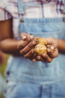 Sluit omhoog van de aardappels van de vrouwenholding in de tuin