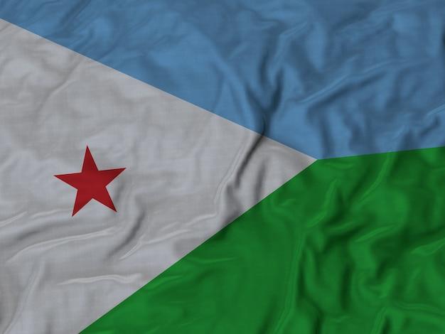 Sluit omhoog van de vlag van ruffled djibouti