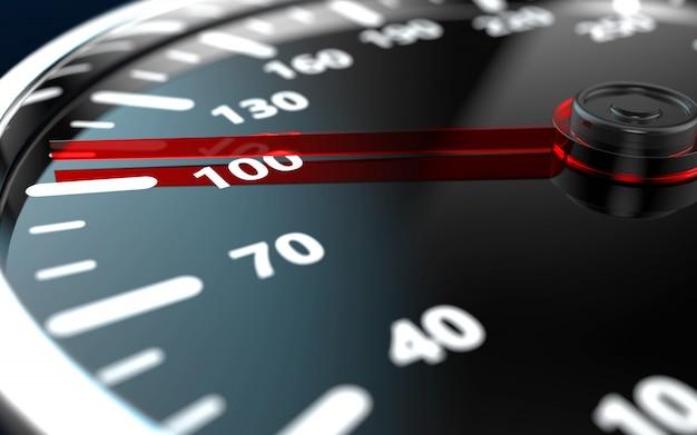 Sluit omhoog van een autosnelheidsmeter met rode naald
