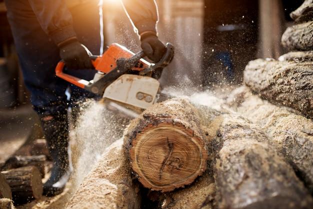 Sluit omhoog van een houthakker die oud hout met een kettingzaag snijdt.