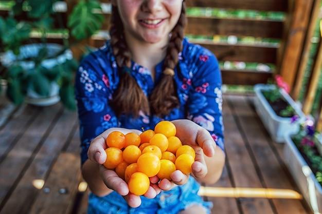 Sluit omhoog van een jong meisje dat vers fruit houdt