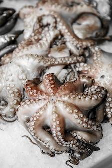 Sluit omhoog van gekoelde zeevruchten in de winkel van een vissenwinkel