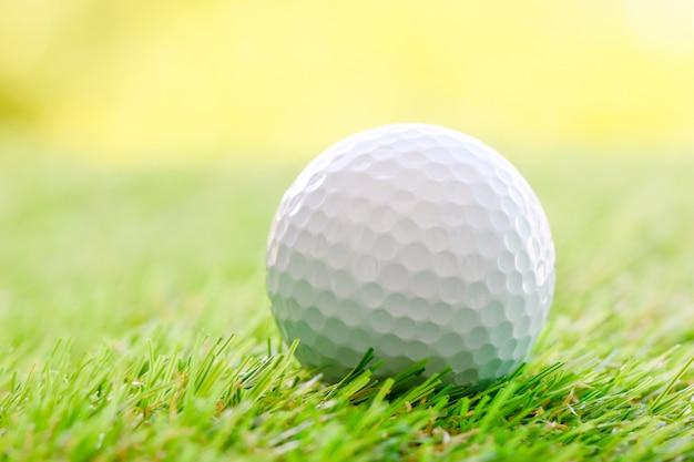 Sluit omhoog van golfbal op groen gras