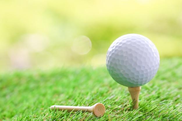 Sluit omhoog van golfbal op t-stuk