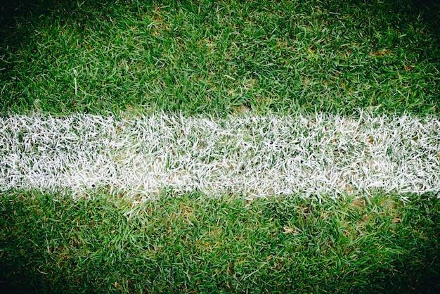 Sluit omhoog van gras en tekens op voetbal of voetbalgebied