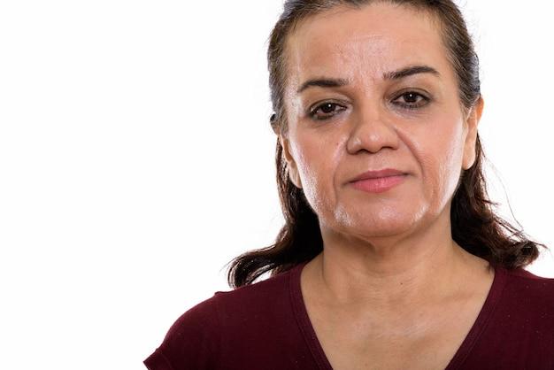 Sluit omhoog van het rijpe perzische vrouwengezicht