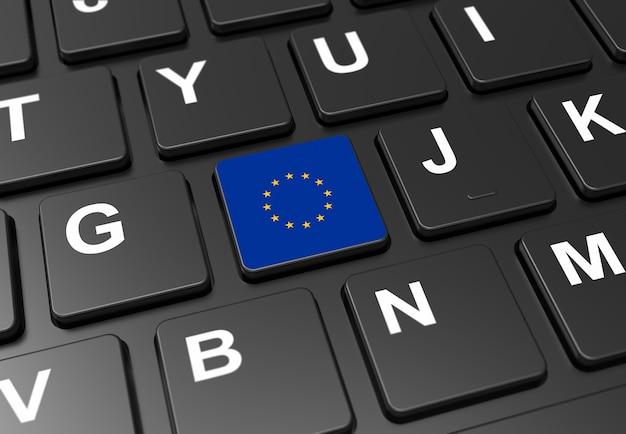 Sluit omhoog van knoop met de vlag van europa op zwart toetsenbord