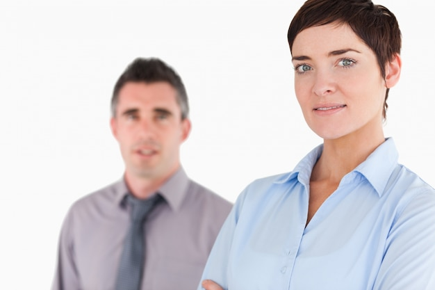 Sluit omhoog van managers het stellen