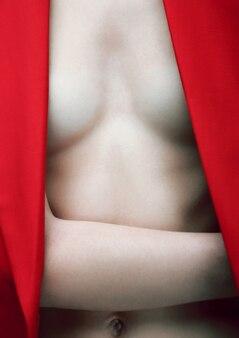 Sluit omhoog van mannequin die rode blazer draagt