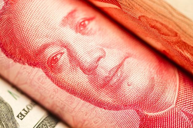 Sluit omhoog van mao tse tung van de yuanbankbiljet van china.