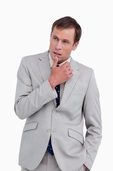 Sluit omhoog van nadenkende zakenman