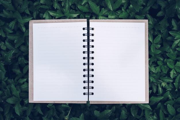 Sluit omhoog van open leeg document notitieboekje op groen gras