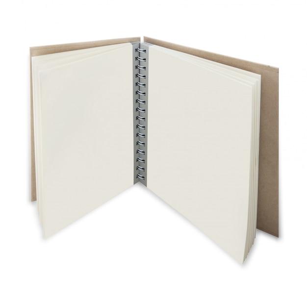 Sluit omhoog van open leerboek met blanco pagina's