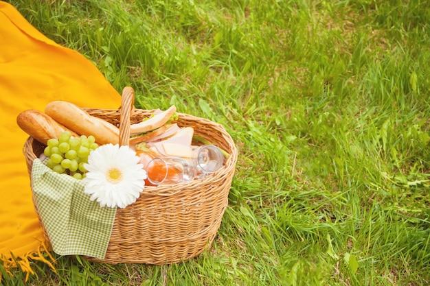 Sluit omhoog van picknickmand met voedsel, vruchten en bloem op de gele dekking op het groene gras Premium Foto