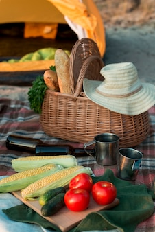 Sluit omhoog van picknickmand met voedsel