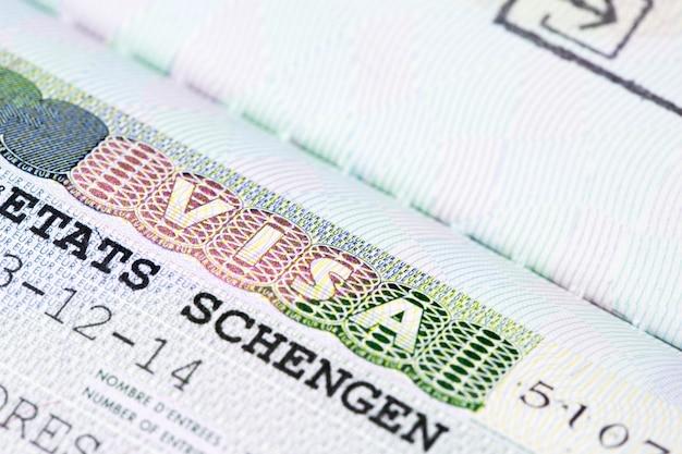 Sluit omhoog van schengenvisum