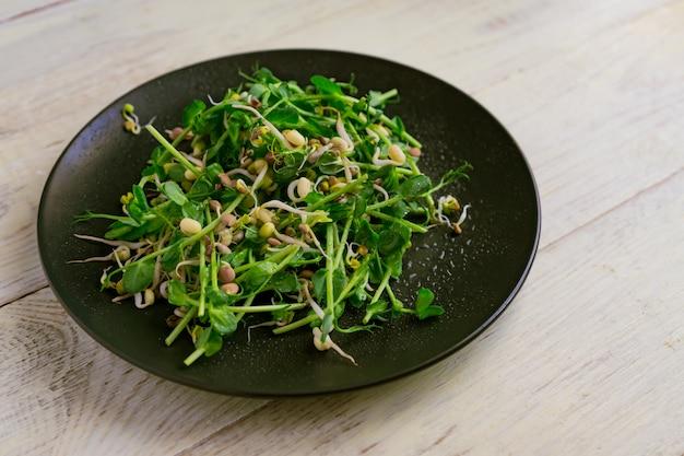 Sluit omhoog van veganistische gezonde salade die van erwten microgroene spruiten wordt gemaakt en gekiemde bonen op houten muur