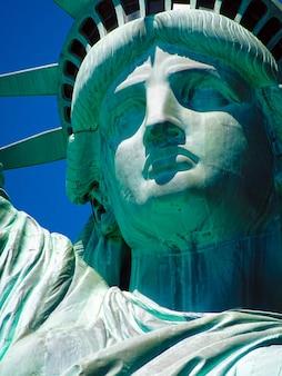 Sluit omhoog van vrijheidsbeeld in new york