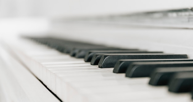 Sluit omhoog wit pianotoetsenbord. muziekinstrument. zwart-witte sleutel. speel geluid, akkoord, melodie.