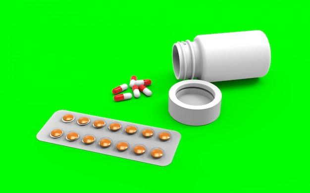 Sluit omhoog witte pillenfles met gemorste uit capsules op jade groene achtergrond met het knippen van weg.