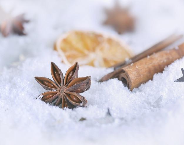 Sluit op steranijs en kaneel op sneeuw