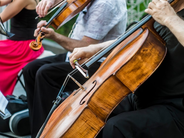 Sluit straatmusicus het spelen van de de jazzmuziek van het vioolinstrument uitvoerder