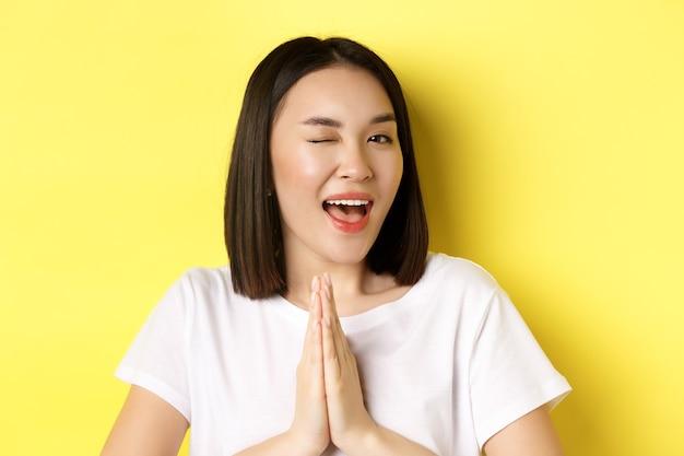 Sluit van brutale jonge aziatische vrouw hand in hand in namaste, dank u gebaar, knipoogend naar koket camera, gelukkig gevoel, staande over geel.