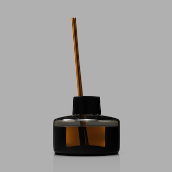 Smaakstokjes in zwarte glazen fles aromatische vloeibare wierook viz object