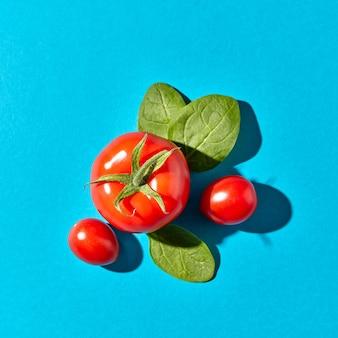 Smakelijke biologische tomaten en groene spinazieblaadjes met schaduwbezinning over een blauw met ruimte voor tekst. ingrediënten voor een gezonde salade. plat leggen