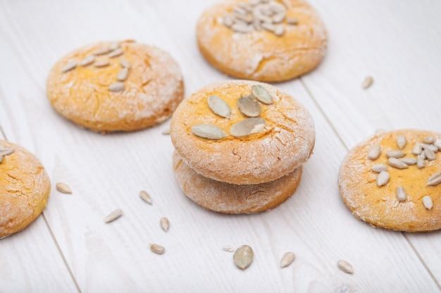 Smakelijke pompoenkoekjes of koekjes met zaden