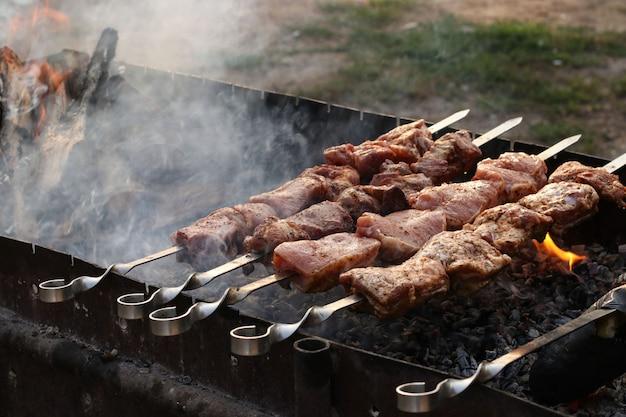 Smakelijke shish kebab geroosterd met rook op spiesjes op open lucht houtskoolgrill