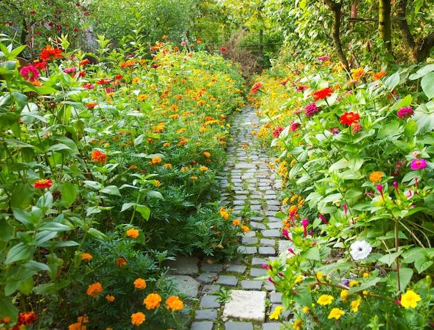 Smal pad in een tuin omgeven door veel kleurrijke bloemen