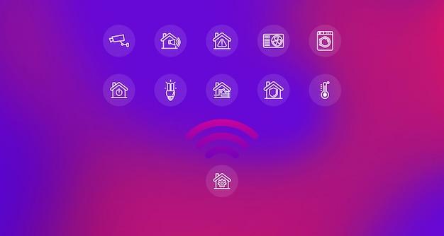 Smart home iot-technologieconcept draadloze bediening van huishoudelijke apparaten
