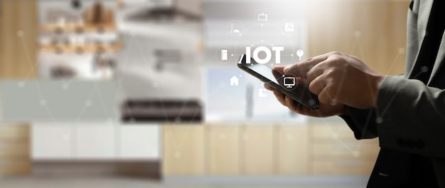 Smart home-verbinding smart home tech-apparaat iot house automation