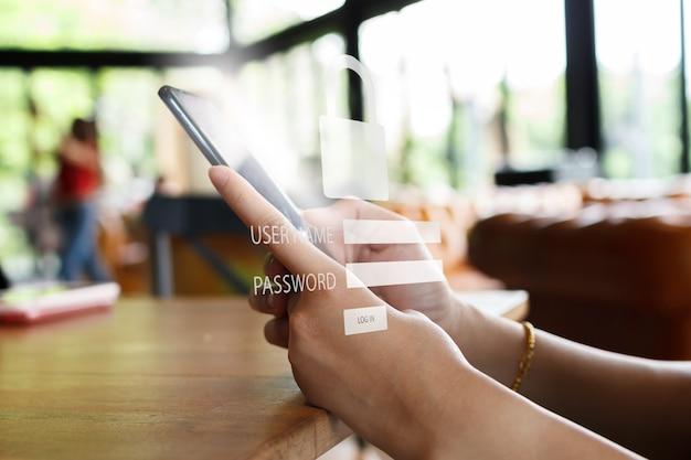 Smartphone-beveiligingsconcept. login en authenticatie voor toegang tot de smartphone.