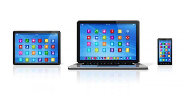 Smartphone, digitale tabletcomputer en laptop