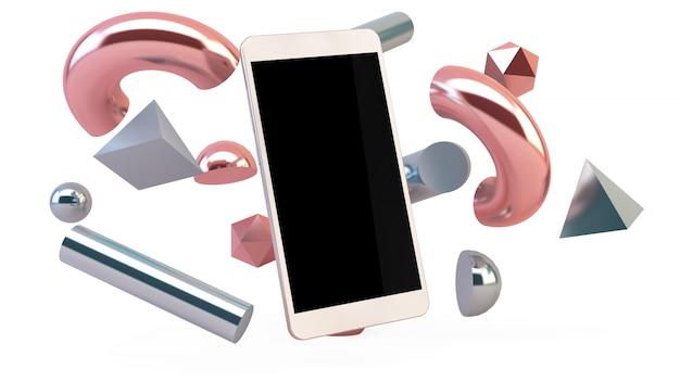 Smartphone en geometrische vormen geïsoleerd drijven