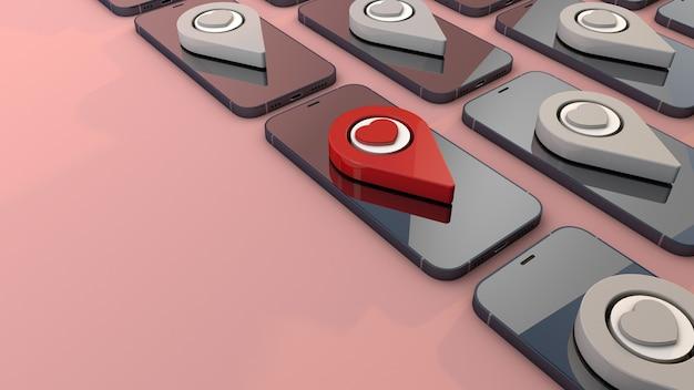 Smartphone en rode pin. 3d geef liefde achtergrondconcept terug
