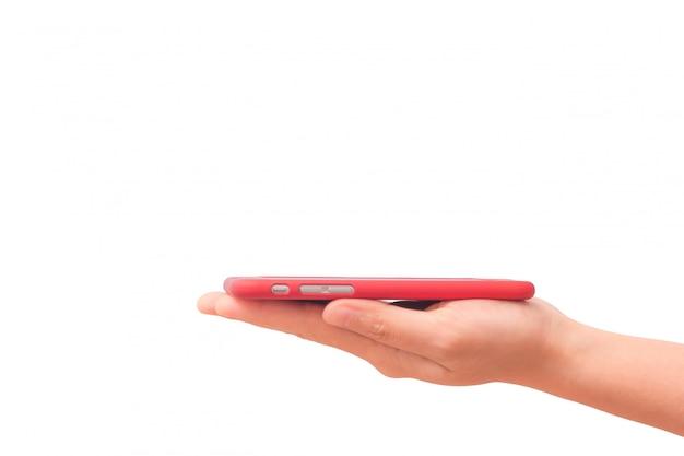Smartphone gezet op hand geïsoleerd op witte achtergrond
