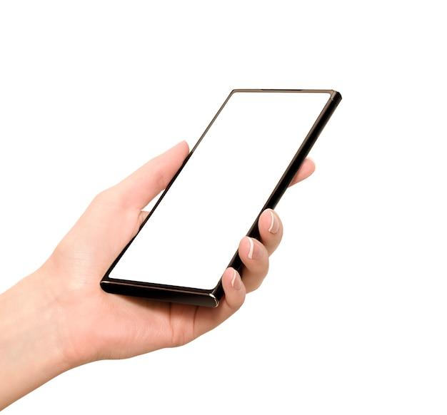 Smartphone in de hand houden met wit exemplaarruimte. geïsoleerd op een witte achtergrond