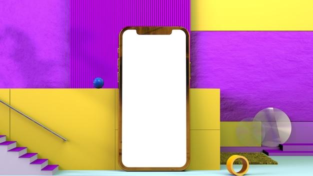 Smartphone-indeling op een gele en paarse achtergrond, ontwerp voor paars