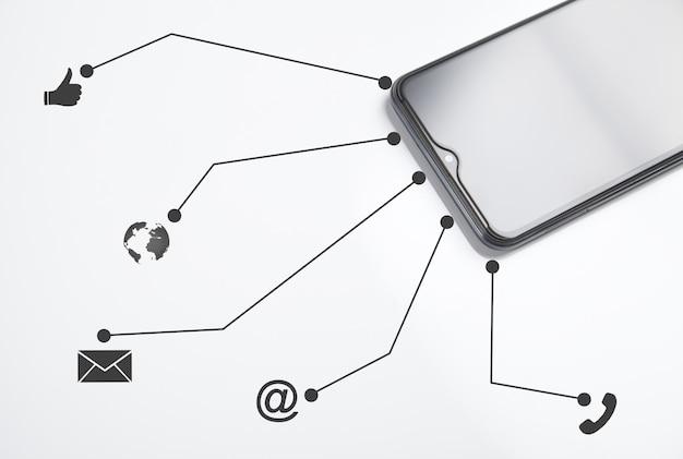 Smartphone met contactsymbolen op witte achtergrond.
